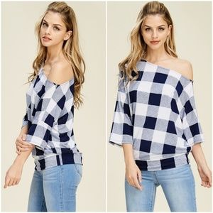 AJ's Threads Tops - Navy Off The Shoulder Checkered Top
